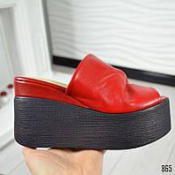САБО красные на черной платформе натуральная кожа