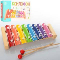 Деревянная игрушка Ксилофон MD 0712 металлические пластины, 8 тонов, 4 вида в кор-ке 36-13-3см