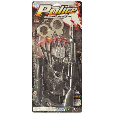 Набор полицейского 3310 автомат, пистолет, присоски 6 шт, наручники, на листе 28-56,5-4 см