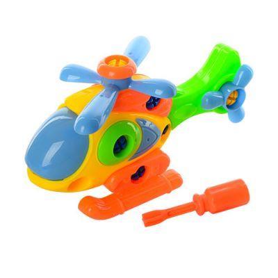 Конструктор YH831 на шурупах, вертолет, отвертка, в сетке 18-11-8 см