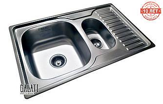 Кухонная стальная  мойка на 2 отделения (78*50 cм) Galati Petrika Satin 9669, фото 2