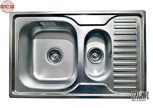 Кухонная стальная  мойка на 2 отделения (78*50 cм) Galati Petrika Satin 9669, фото 3