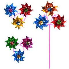 Вітрячок M 1747 діаметр 15 см, довжина палички 28 см, 3 квіточки, вертушка,