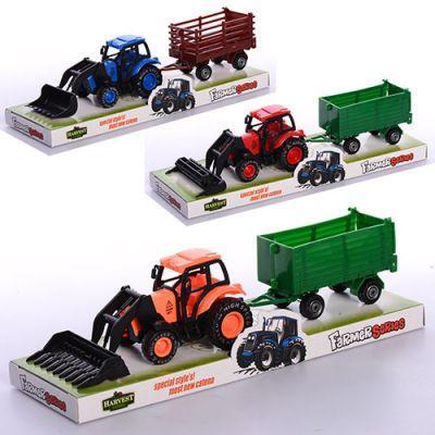 Трактор 8896 (180 шт) инер-й, с прицепом  3 вида, в слюде 25,5-7,5-7 см
