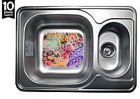 Кухонная стальная  мойка на 2 отделения с ковриком (70*50*18 cм) Galati Fifika 1.5C Satin 4013
