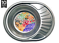 Кухонная стальная мойка овальная с ковриком (57*45*18 см) Galati Taleyta  Textură 7132