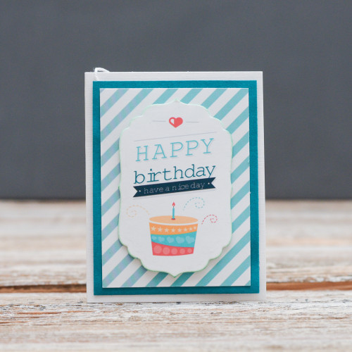 Открытка мини Happy Birthday торт в полоску