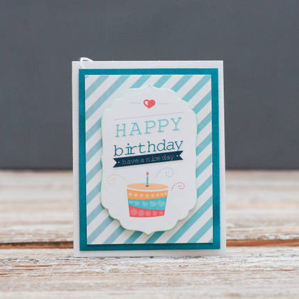 Открытка мини Happy Birthday торт в полоску, фото 2