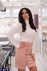 Спідниця міні замшева з кісками жіноча стильна розміри 42 44 46 48 Новинка є кольори
