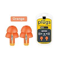 Многоразовые силиконовые беруши с чехлом от шума Filter Ear Plugs Orange