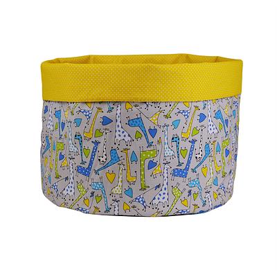 Мешок (корзина) для хранения, Ø45 * 40 см, (хлопок), с отворотом (Жирафчик / горох на желтом)