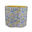 Мешок (корзина) для хранения, Ø45 * 40 см, (хлопок), с отворотом (Жирафчик / горох на желтом), фото 2