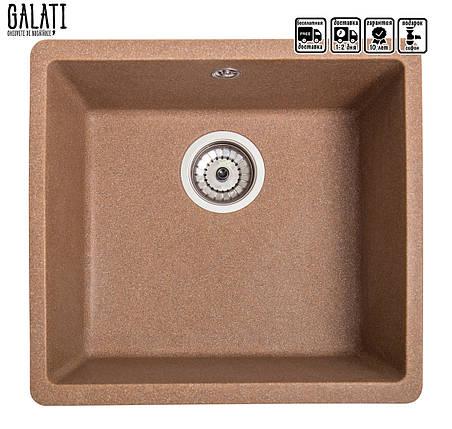 Кухонная мойка врезная под столешницу с евросифоном 40*37*22 см Galati Mira U-400 Teracotă 3411, фото 2