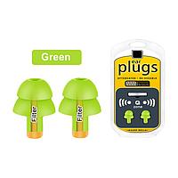 Многоразовые силиконовые беруши с чехлом от шума Filter Ear Plugs Green