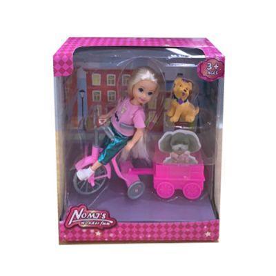 Кукла 1324  велосипед с тележкой, собачка, в кор-ке 18,5-21-7,5 см