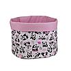 Мешок (корзина) для хранения, Ø45 * 40 см, (хлопок), с отворотом (панды с шариками / горох на розовом), фото 2