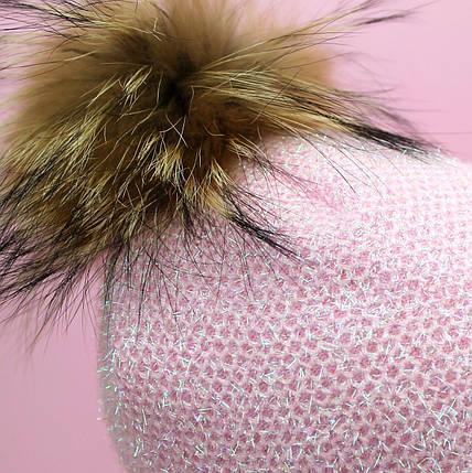 26730роз Шапка Варвара нежно розовая с натуральным помпоном тм Babasik размер 48-50,50-52, фото 2