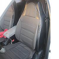 Чехлы сидений Chevrolet Aveo 2006-2012 Пилот комплект кожзаменитель черный и ткань серая