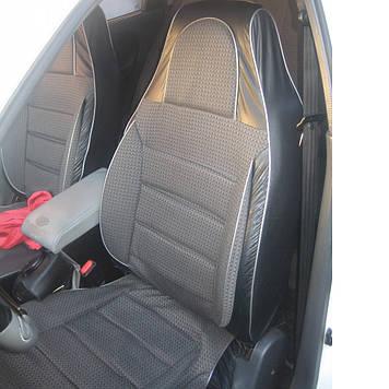 Чехлы сидений ВАЗ 2103/ ВАЗ 2106 Пилот комплект кожзаменитель черный и ткань серая
