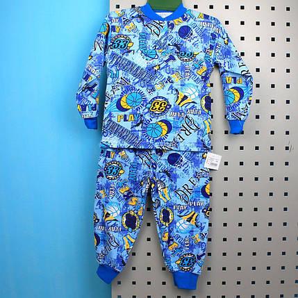 26738син Пижама для девочки кулир с начесом размер 72,76,80 , фото 2