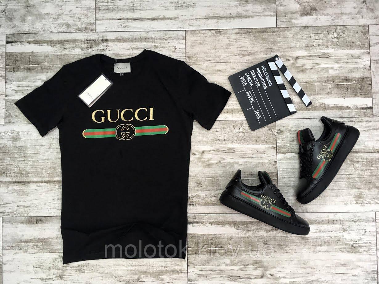 Модная футболка на лето в стиле Gucci черная