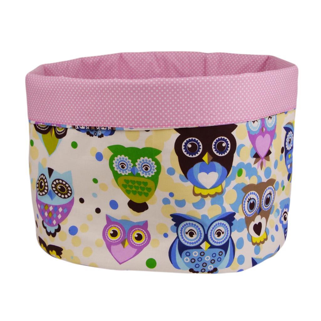 Мешок (корзина) для хранения, Ø45 * 40 см, (хлопок), с отворотом (сказочные совы голубые / горох на розовом)