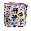 Мешок (корзина) для хранения, Ø45 * 40 см, (хлопок), с отворотом (сказочные совы голубые / горох на розовом), фото 2
