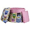 Мешок (корзина) для хранения, Ø45 * 40 см, (хлопок), с отворотом (сказочные совы голубые / горох на розовом), фото 3