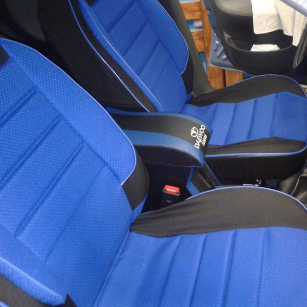 Чохли сидінь ВАЗ 2109 Пілот комплект шкірозамінник чорний і синя тканина
