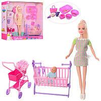 8363 Кукла DEFA беременная,коляска,кроватка,аксессуары,2цв,в кор-ке,40.5-35-9,5см