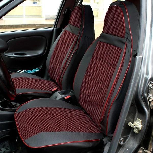 Чехлы сидений ВАЗ 2170 Седан Приора Priora Пилот комплект тканевые Черно- красные