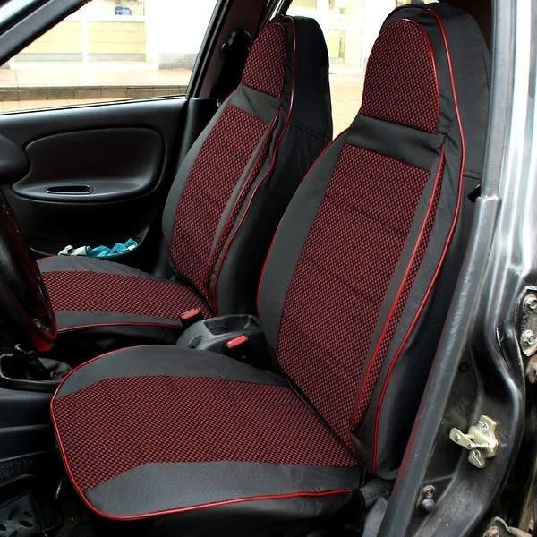 Чехлы сидений Ланос/ Daewoo Lanos Пилот комплект кожзаменитель черный и ткань красная