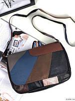 Сумка женская кожаная черная кроссбоди сумочка через плечо цветная натуральная кожа, фото 1