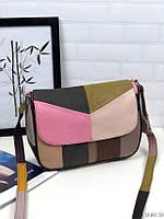 Маленькая женская кожаная сумочка цветная сумка через плечо кросс-боди натуральная кожа, фото 1