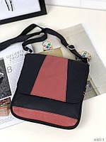 Сумка-планшет женская кожаная сумочка мессенджер натуральная кожа черно розовая, фото 1