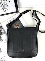 Женская кожаная сумка планшетка через плечо сумочка почтальонка кросс-боди натуральная кожа черная, фото 1