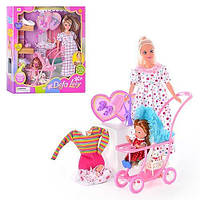 KM8049MT Кукла DEFA 8049  с нарядом,беремен,ребенок,аксесс,коляска,собака,2 видав кор-ке, 35-34,5-6см