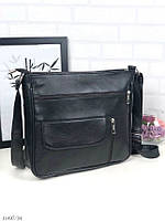 Чорна жіноча шкіряна сумка крос-боді сумочка почтальонка квадратна натуральна шкіра, фото 1