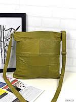 Маленькая салатовая кожаная сумочка кросс-боди почтальонка сумка через плечо натуральная кожа, фото 1