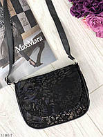 Черная кожаная сумочка замшевая женская сумка кросс-боди нубук 11485/7, фото 1