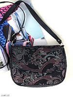 Кожаная женская сумочка сумка кросс-боди через плечо натуральная кожа нубук, фото 1
