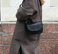 Маленькая сумочка женская кожаная сумка через плечо натуральная кожа черная рептилия 11485/11, фото 1