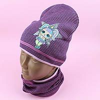 26828 Шапка двухслойная и шарф хомут для девочки: комплек деми LOL Полоска тм ANPA размер 50-52