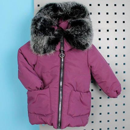 20339-2 Зимняя куртка с капюшоном для девочки баклажан тм Одягайко рост 86 см, фото 2