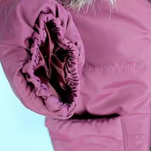 20339-2 Зимняя куртка с капюшоном для девочки баклажан тм Одягайко рост 86 см, фото 3