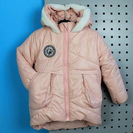 20196-2 Детская зимняя куртка с капюшоном для девочки розовая тм Одягайко рост 104 см, фото 2