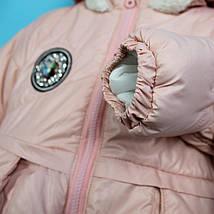 20196-2 Детская зимняя куртка с капюшоном для девочки розовая тм Одягайко рост 104 см, фото 3