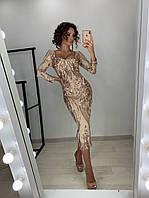 Золотое удлиненное платье футляр из стрейч сетки с вышивкой и пайетками LUX
