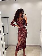 Бордовое удлиненное платье футляр из стрейч сетки с вышивкой и пайетками LUX