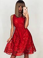 Красное короткое платье из сетки с блестящей вышивкой и пайетками LUX
